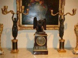 Антикварные настольные Часы с подсвечниками 19 век. 44x17x17 см. Цена 3000 евро