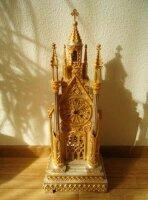 Антикварные Настольные (каминные) часы - Католический собор. Колокол на башне. Мрамор, бронза, сусальное золото. 55x21 см. Цена 3000 евро