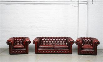 25. Антикварный Комплект Честерфилд - диван и два кресла. Около 1930 года.