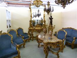 37. Антикварный Салон: стол, диван, 4 кресла, зеркало, консоль, подставка под цветы. 1920 год. Цена 35000 евро. №1