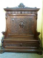49. Антикварная Резная скамья. Около 1860 года. 224х175х60 см. Цена 5000 евро