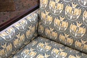 Антикварный Диван и кресло. Красное дерево. Новая обивка Backhausen. Арт-деко. Англия 1920 г.