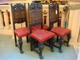 29. Четыре антикварных стула. Около 1850 года. 42x37x113 см.