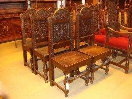 30. Шесть антикварных стульев. 19 век. 50x40x115 см.