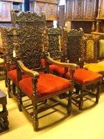 32. Пять антикварных стульев и одно кресло. 19 век.