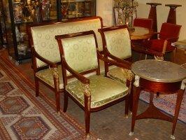 60. Антикварный Комплект в стиле Ампир. Стол, диван и 2 кресла. Около 1880 года.