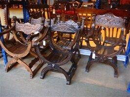 37. Курульные кресла антикварные. 18 и 19 век.