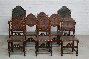 38. Два кресла и шесть антикварных стульев. Около 1880 года.