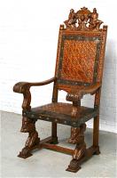 47. Большое резное антикварное кресло. 19 век. 76x65x150 см. Цена 2800 евро
