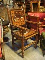 Антикварное Кресло 19 век. Дерево, кость, маркетри. 62x65x129 см. Цена 2800 евро
