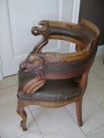63. Антикварное Резное кресло для письменного стола. Кожа, массив дуба.