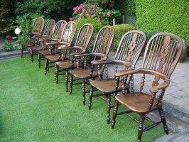 Антикварные Виндзорские стулья. Комплект 8 штук. 1850 г.