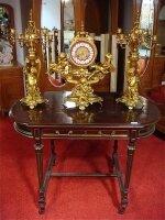 119. Антикварный Каминный гарнитур часы и подсвечник - бронза. 19 век. 58х56 см. Цена 14000 евро.