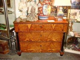 132. Антикварный Комод со встроенным бюро. Карелская берёза. 19 век. 110x85x56 см. Цена 4800 евро.