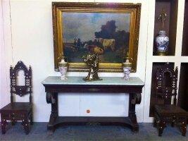 141. Антикварная Консоль с мраморной крышкой. Ампир. XIX век. 169x50x89 см. Цена 4900 евро.