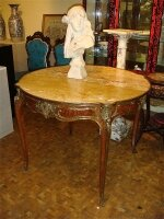 152. Антикварный Круглый стол. Мраморная столешница. Украшен бронзой. 19 век.