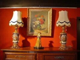 176. Пара антикварных фарфоровых ламп. 19 век.