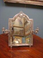 266. Антикварное Зеркало с подсвечниками серебряное. Франция. Серебро. 19 век. 41х62 см. Цена 6000 евро