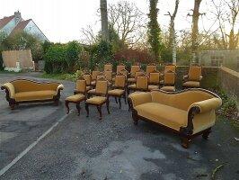 295. Салон - комплект антикварной мебели для гостиной: диван, канапе, 6 кресел, 12 стульев. XIX век.