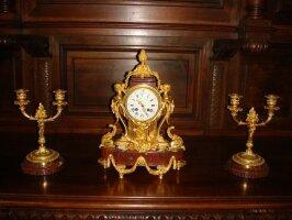 338. Антикварный Часовой гарнитур. Около 1890 г. 30x17x43 см. Цена 4000 евро