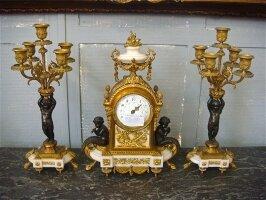 5. Антикварный Каминный гарнитур. Бронзовые каминные часы с канделябрами 19 век. Цена 4000 евро.