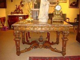 90. Антикварный Гостинный стол с мраморной столешницей. 19 век.