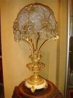45. Антикварная Настольная лампа. Бронза, хрусталь. 19 век. 75 см. Цена 5500 евро
