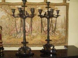 Пара антикварных подсвечников. Темная бронза, основание черный мрамор. 1880 г. Высота 75 см. Цена 1250 евро