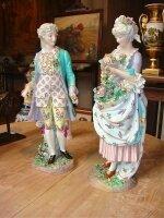 33. Антикварная скульптура Кавалер с Дамой. Мейсон. Около 1880 года. Высота 56 см. Цена 4700 евро