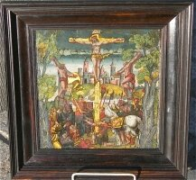 84. Антикварная Картина на стекле. 16 век. 21x21 см.