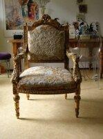 Резное антикварное золоченое кресло. 18 век.