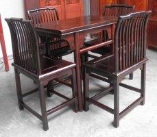 Антикварный стол (80x50 см) и 4 антикварных  стула. Черный вяз. 1750 г. Цена 2000 евро