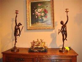19. Пара антикварных бронзовых скульптур. 19 век. Ввысота: 78 см. Цена 2500 евро.