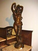 88. Антикварная Подписная фигура из бронзы. 19 век. 86x20 см. Цена 5000 евро