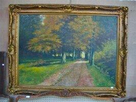 125. Антикварная Картина. Пейзаж. Около 1930 г. 220x167 см. Цена 5500 евро