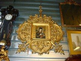 Антикварная Настенная икона. 19 век. Дерево, золочение. 120x120 см. Цена 3000 евро