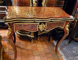 39. Антикварный Ломберный стол Буль. 19 век. 82x41x75 см. Цена 6500 евро.