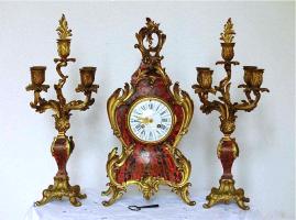 92. Каминный Часовой гарнитур с канделябрами в стиле Буль. Около 1860 г. 47x23x13 см. Цена 6000 евро