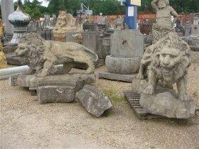 35. Пара антикварных каменных львов, садовая скульптура. 19 век.