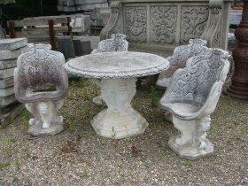 40. Каменный Стол и 4 стула для сада. XX век