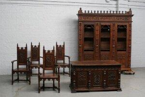 36. Антикварный Кабинет в неоготическом стиле. Комплект: письменный стол, книжный шкаф и 4 кресла. Около 1830 год.