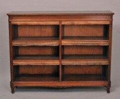 Открытый низкий книжный шкаф антикварный. 1900 г. Франция. 132x39 см. Цена 2100 евро