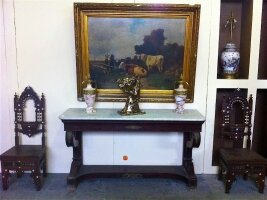 13. Антикварная Консоль с мраморной крышкой. Ампир. 19 век. 169x50x89 см. Цена 4900 евро.