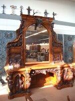 59. Антикварный Большой стол резной, с зеркалом. 19 век.
