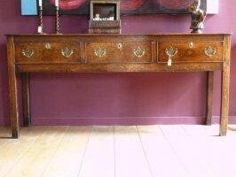 Антикварный Консольный стол с тремя ящиками. Англия. Массив дуба. 181x46x84 см