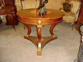 Антикварный Круглый стол. Ампир. Около 1880 г. 100x76 см