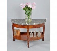 Полукруглый антикварный консольный стол с мраморной столешницей и ящиками. 1870 г. 116x52x79 см. Цена 1850 евро