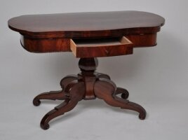 Антикварный Раскладной столик. Красное дерево. 1860 г. Голландия. 122x63-105 см. Цена 1650 евро