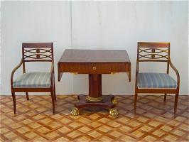 Антикварный Стол и два кресла. 19 век. Цена 3500 евро