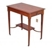 Антикварный Столик с выдвижными ящиками. Красное дерево. Инкрустация. 1890 г. Англия. 76x46x75 см. Цена 1300 евро